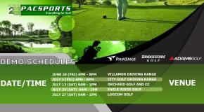 Adams, Bridgestone, TourStage, Nike Golf Philippine Demo Schedule