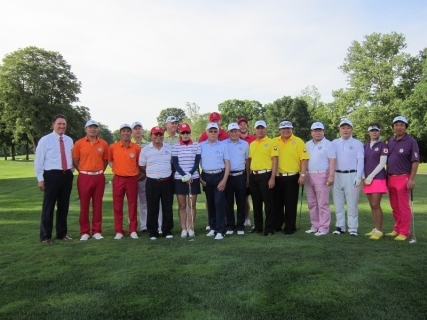 Teams with Bill Stines, head PGA professional at Scioto Country Club, from front row, left to right: China, Mexico, Italy, Philippines, South Korea, Japan, South Africa. Back row, left to right: Denmark.